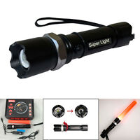 Tactical Led Rechargeable Swat Led Flashlight Torch Lamp Light With Charger