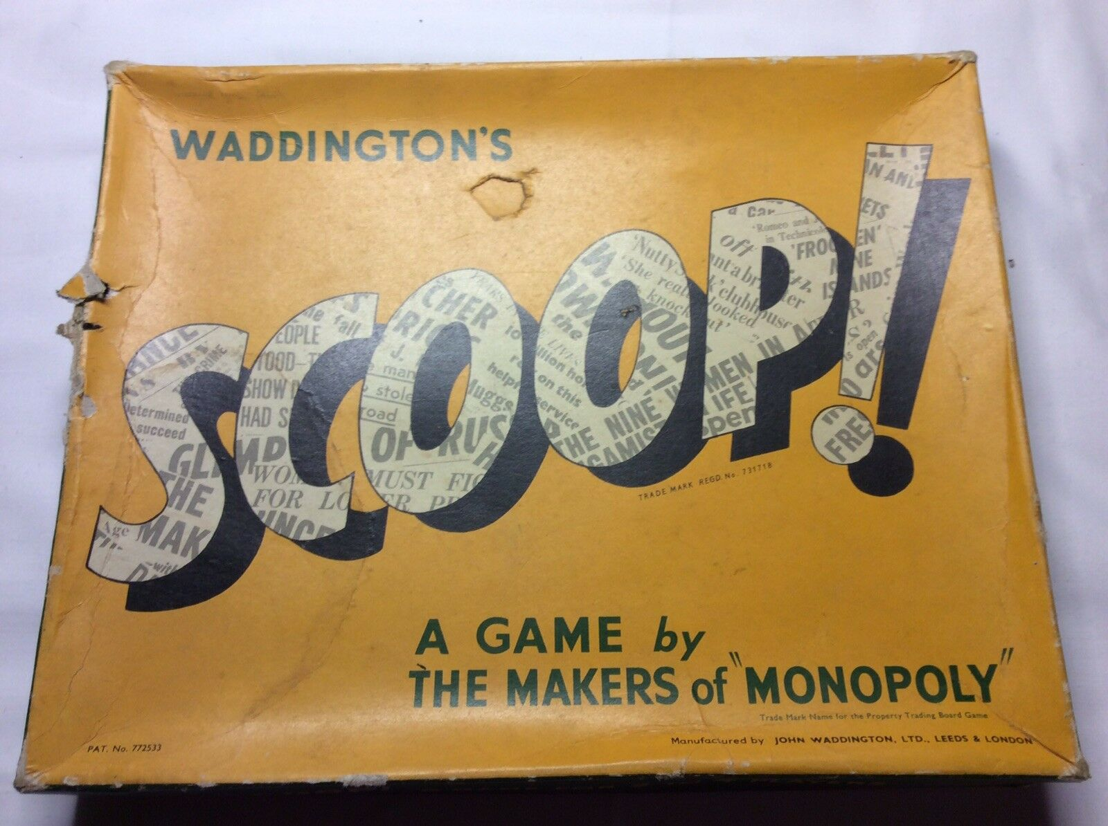 Antique SCOOP Board Game By Waddingtons- Complete  With Instructions 1950's