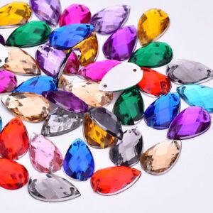 100 Mixed Faceted Beads Acrylic Rhinestone Gem 8X13mm Tear Drop Flat Back Sew On