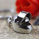 Creative Cute Silver Motorcycle Helmet Metal Keychain Ring Keyring Key Fob Charm