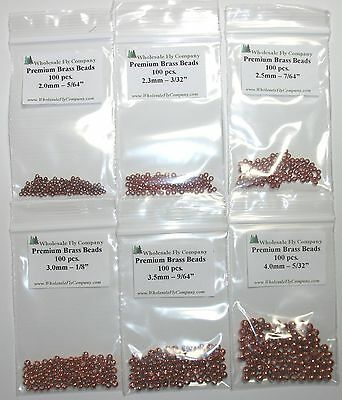 600 piece Brass Fly Tying Beads Assorted Sizes D- PICK COLOR