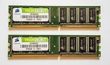 CORSAIR 2X 1GB 184-Pin DDR SDRAM DDR 400 (PC 3200) Desktop Memory VS1GB400C3