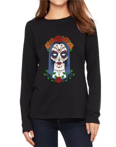 Velocitee Ladies Long Sleeve T-Shirt Dia Los Muertos Lady Day Of The Dead V179
