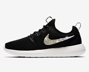 16e507dd3dc77 Details about Bling Nike Roshe Two Shoes w/ Swarovski Crystals * Black *  with Bedazzled Swoosh