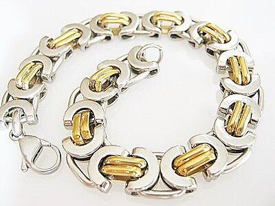 Willensstark Königsarmband Edelstahl Silber Gold Byzantiner Panzerarmband Herren-armband 100% Original