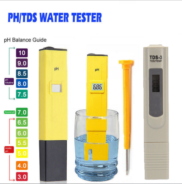 LCD Digital PH TDS EC Tester Meter Pen Water Purity Hydroponic Aquarium Pool kit
