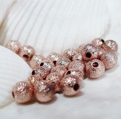Round Stardust Beads Pure Copper Round Seamless Beads 6 MM (50 Beads)