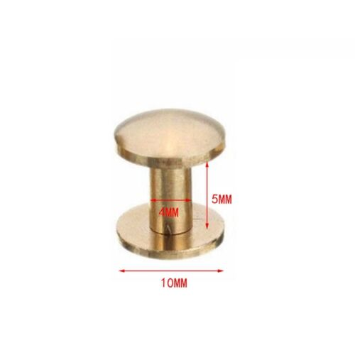 10x Brass Arc Solid Button Stud Screw Nail Screw back Leather Rivet Belt