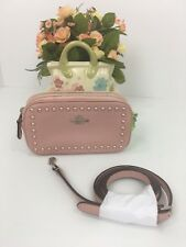 72034c537ae4 Coach Crossbody Bag Pink Lacquer Rivets Pebble Leather Pouch F53450 B20