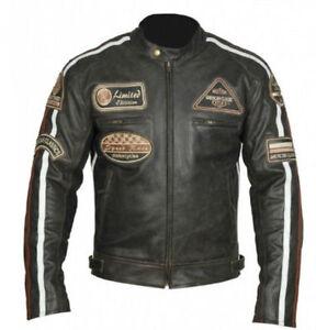 Veste-En-Cuir-Moto-Homme-Vintage-Cafe-Racer-Leather-Jacket-Blouson-Taille-XL