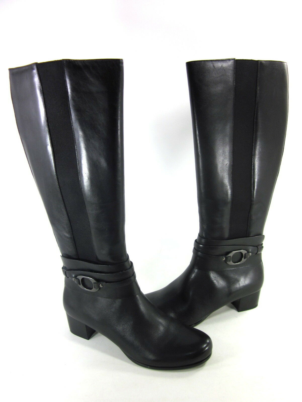 TROTTERS WOMEN'S AMORE COMFORT US RIDING BOOT LEATHER BLACK US COMFORT SIZE 9.5 NARROW c8cc45