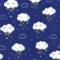 Michael Miller Showery Fabric in Midnight blue, rain cloud, cute, baby.By the FQ
