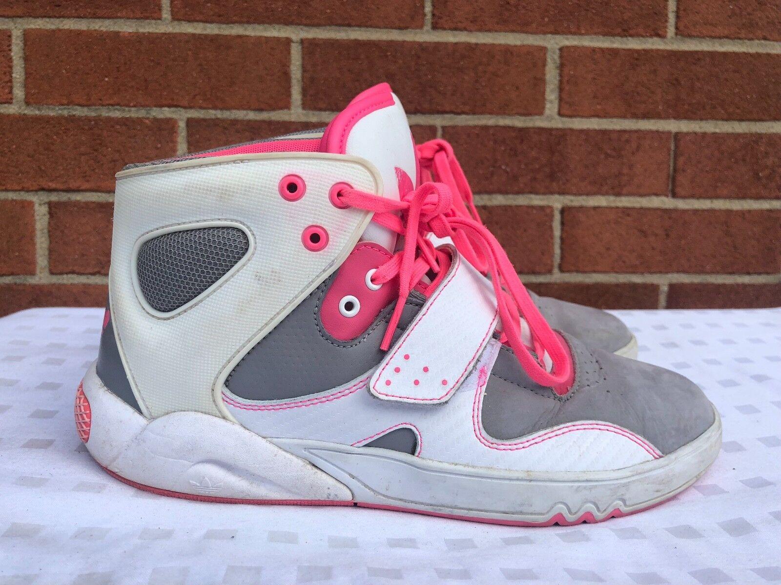 Adidas femme HI Top Original Chaussures Blanc Gris Rose Taille 7