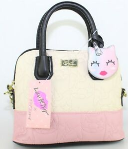 a360e8b2fea8 Details about Luv BETSEY JOHNSON Unicorn Satchel Pink & Ivory Quilted Dome  Crossbody LBDENA