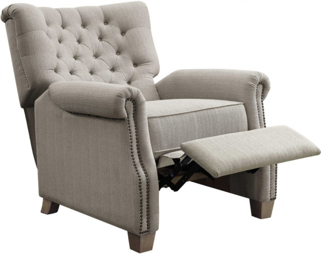 Fabulous Classic Recliner Button Tufted Push Back Chair Nailhead Trim Fabric Padded Gray Andrewgaddart Wooden Chair Designs For Living Room Andrewgaddartcom