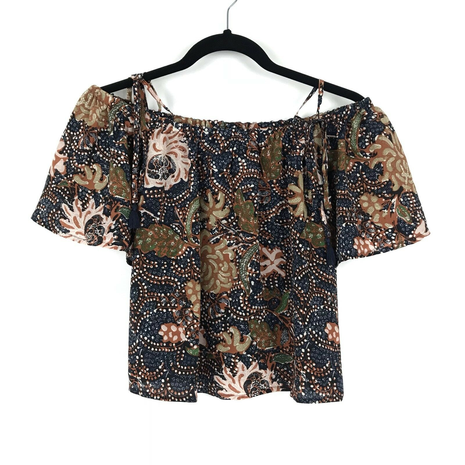 Madewell Womens Size XS Silk Cold Shoulder Top Sea Floral Print Multicolor NEW