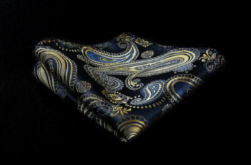 Gold Schal Krawatte Ascot Marineblau /& Braunes Paisley Seide Gratis Taschentuch