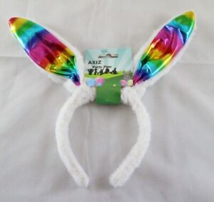 Easter-Bunny-Ears-Rainbow-Headband-Soft-White-Band