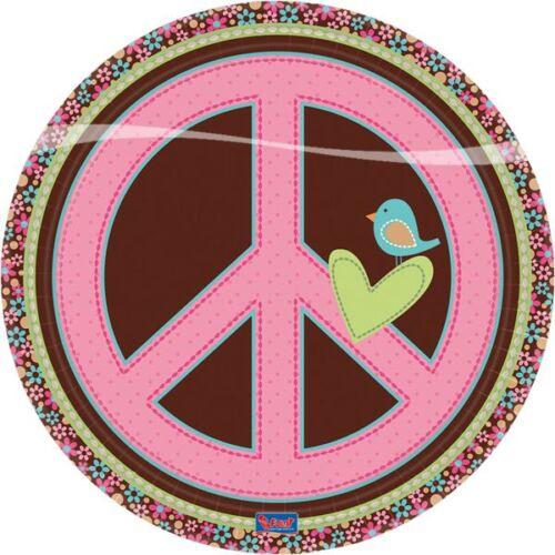 Pappteller Hippie Girl Teller Tischdeko 23 cm 8 Stk Tisch Deko