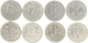 Germany 2 DM Circulation Coins 1951 Dfgj Ears And Grapes Complete Package VF XF