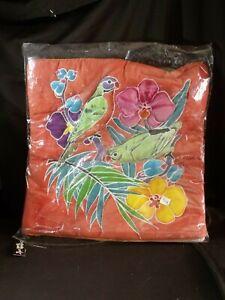 NWT-Caribelle-Batik-pillow-bed-sham-cover-case-parrots-tropical-flowers-orange