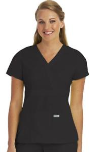 ede8576b16c Barco - Grey's Anatomy Women's Mock Wrap Solid Scrub Top - 4153 | eBay