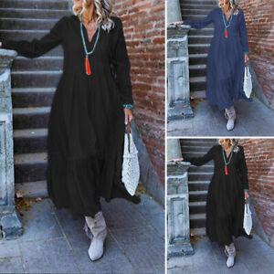 Mode-Femme-Robe-Manche-Longue-Col-V-Couture-Couleur-Unie-Party-Loose-Dresse-Plus