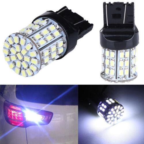2X T20 W21W 7443 7440 LED 64-SMD 1206 Tail Stop Brake Light Bulb Lamp White 12V
