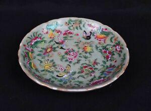 Antique 1800's Porcelain Charger Famille Verte China Export Butterflies Birds