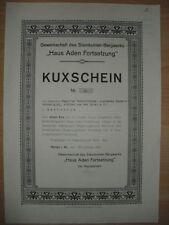 Kuxschein: Gewerkschaft des Steinkohlen Bergwerks Haus Aden Fortsetzung 1920