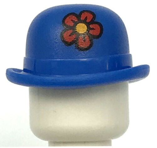 LEGO NEW BLUE MINIFIGURE HAT WITH BRIM AND FLOWER PATTERN PIECE