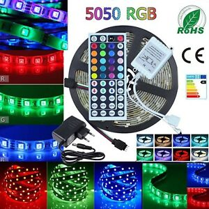 5050 Rgb Led Strip Lights Waterproof Ip65 1m 30m 12v 44key Ir Controller Adapter Ebay