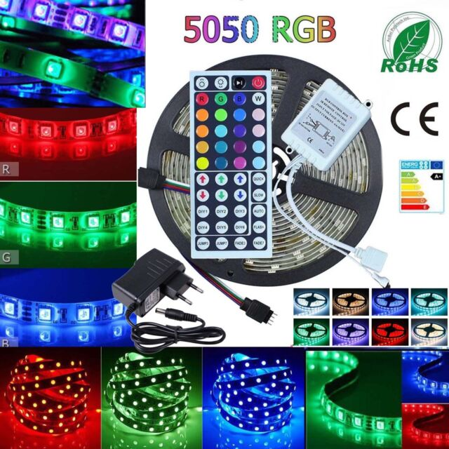 5050 RGB LED Strip Lights Waterproof IP65 1m-30m 12V 44key IR Controller Adapter