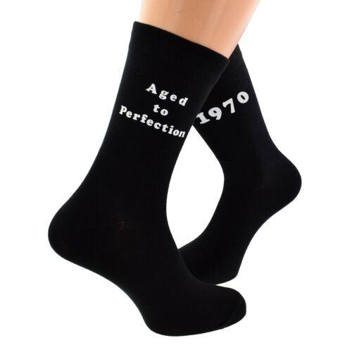 1970 años a la perfección Diseño Impreso Hombre Negro Calcetines gran 50th Cumpleaños 2020