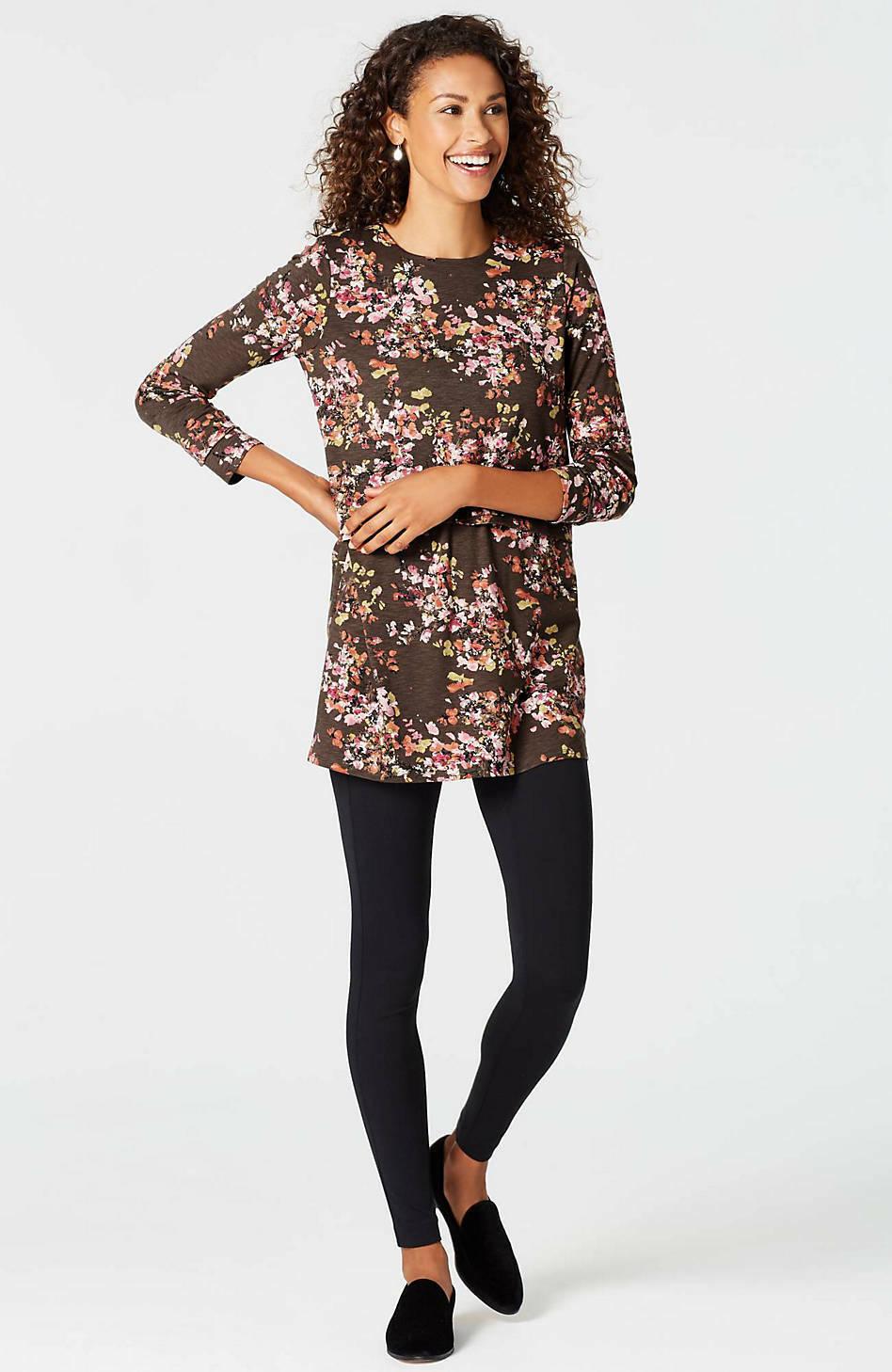 J. Jill - 4X(Plus) - Very Beautiful Mocha Abstract Blossoms Knit Tunic - NWT