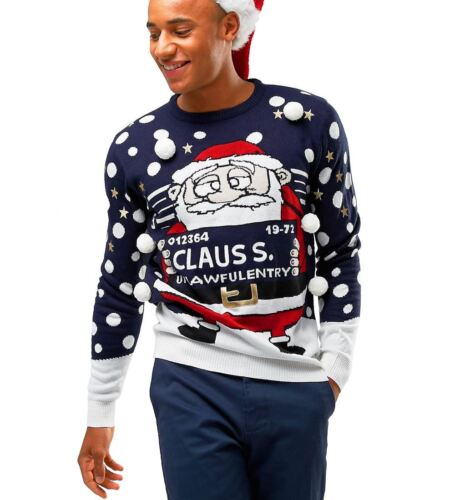 Mens Christmas Jumper Naughty Santa Funny Size XS S M L XL Red Navy