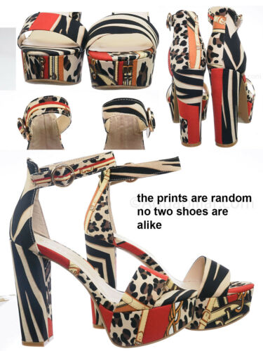 Women Platform Open Toe Baroque Print Shocking03 Block Heel Platform Sandal
