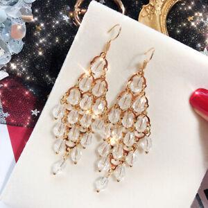 Women-Hook-Dangle-Earring-Crystal-Fashion-Jeweley-Gifts-Long-Tassel-Earrings