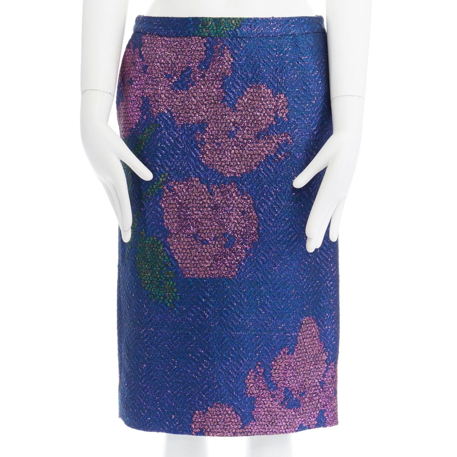 New DRIES VAN NOTEN SS15 metallic bluee pink floral chevron pencil skirt FR36 28