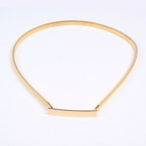 Gold Metal Elastic Stretchy Skinny Thin Waistband Waist Belt Chain Lady Girl