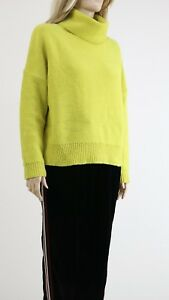 df721f03793133 Karen Millen KZ058 Women's Yellow Boxy Roll Neck Jumper Pullover UK ...