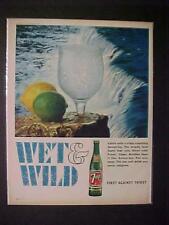 RARE OLD ~7-UP SODA POP BOTTLE SOFT DRINK ART PAPER PRINT AD~ ORIG VINTAGE 1966