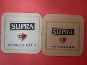 2 bierviltjes SUPRA  -  CHEVALIER MARIN  MECHELEN        /