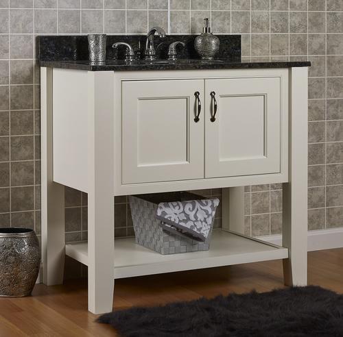 Jsi Ton 36 2 Door Ivory Bathroom Vanity Cabinet W Open Shelf Vt