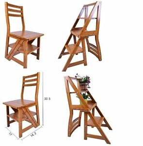 Folding Library Step Ladder Chair For Office Kitchen Home