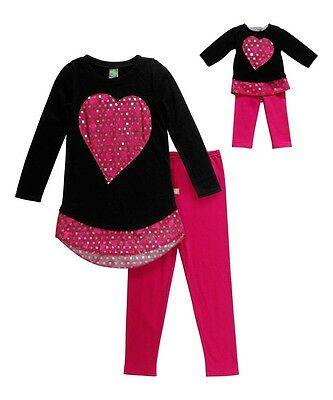 """Girl 4-14 and 18/"""" Doll Matching Pink Tiered Dress Legging Outfit American Girl"""