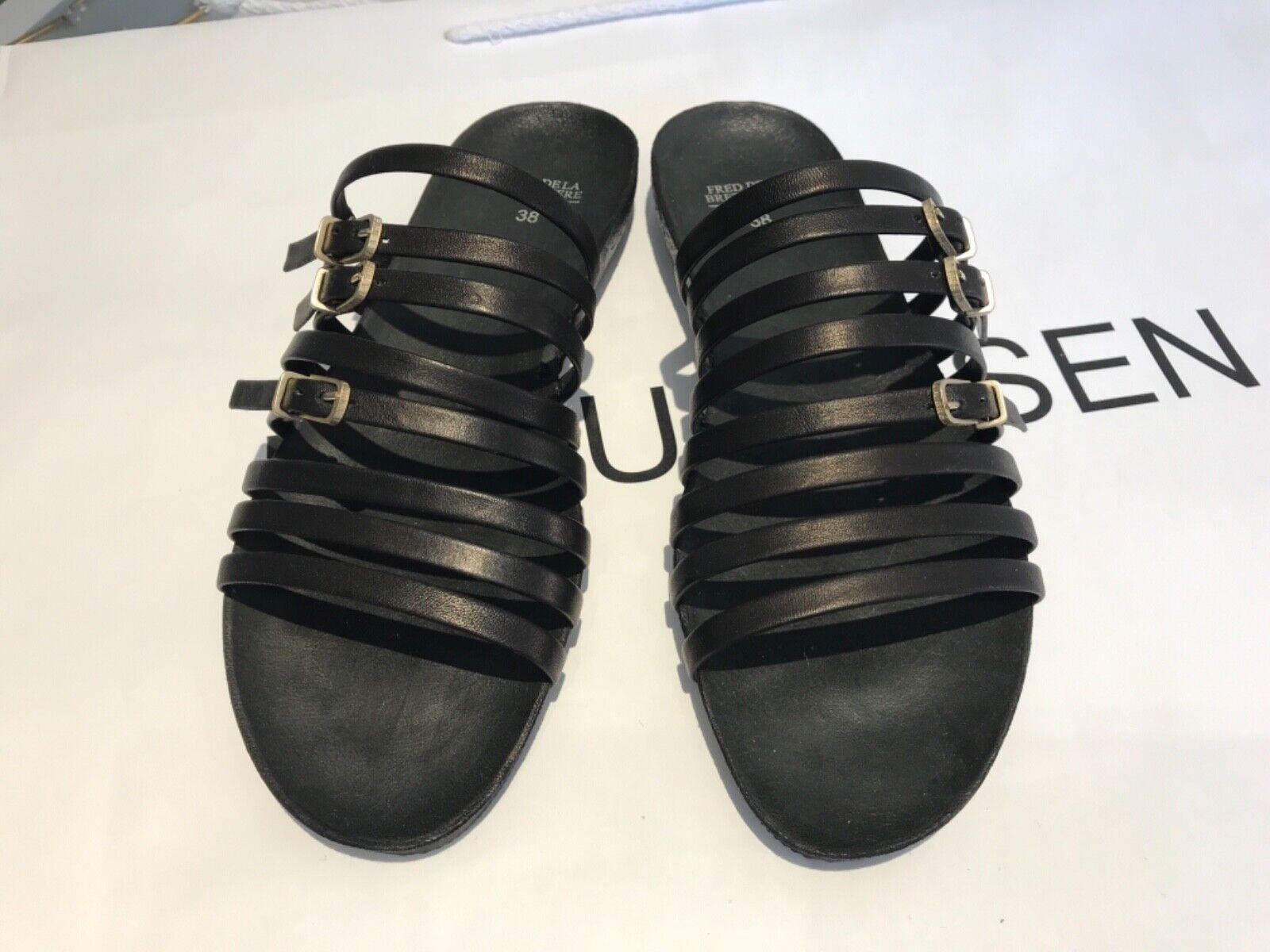 Sandalen,Damen, Frot de la Bretoniere,Größe 38,schwarz,Leder,neu, 12%rotuziert