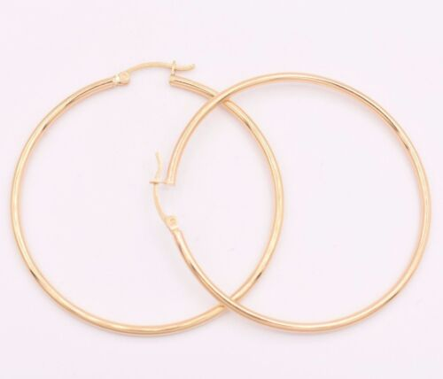 """2/"""" 2mm X 50mm Large Plain Shiny Round Hoop Earrings REAL 14K Yellow Gold 3.2grm"""