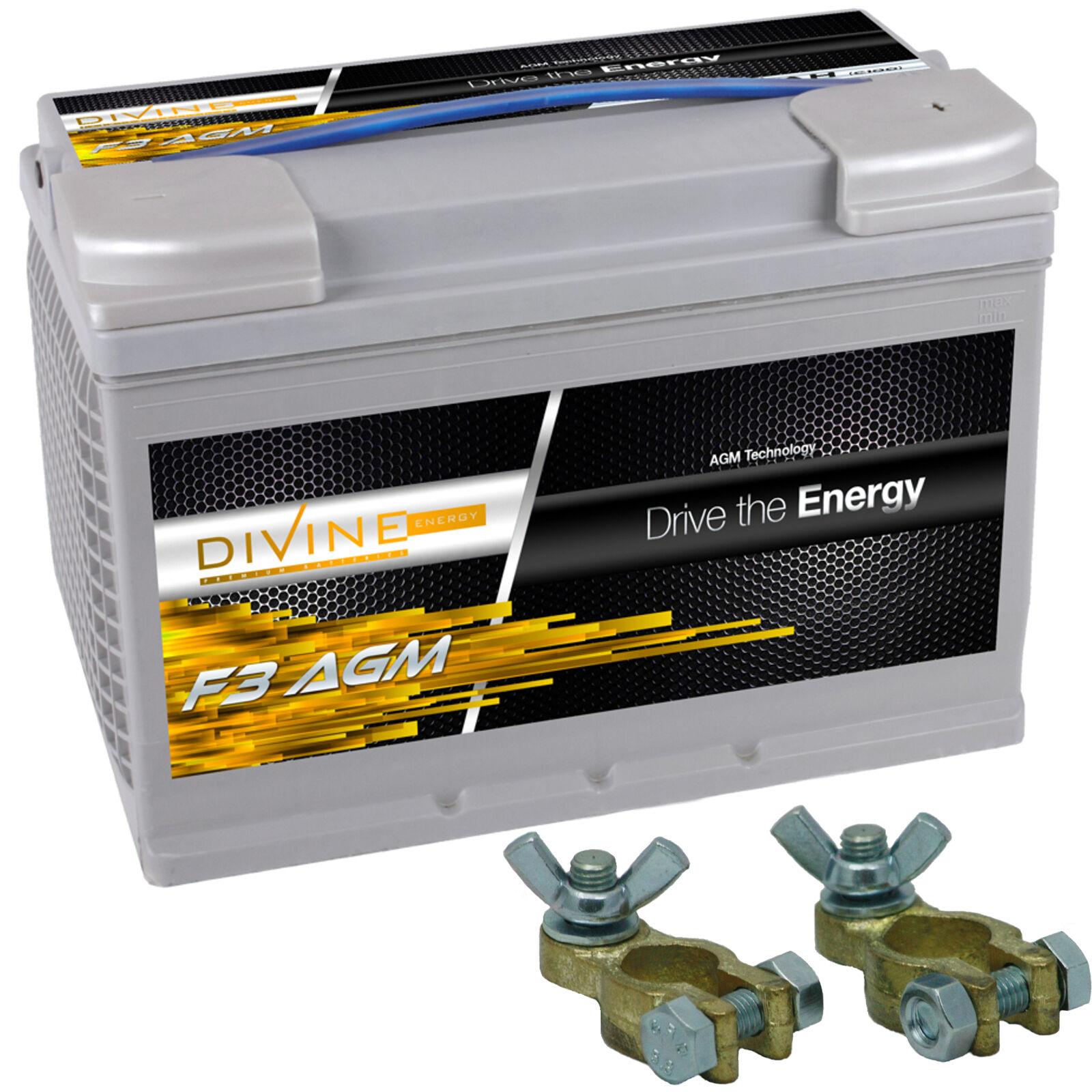Divine F3 75Ah 75Ah 75Ah AGM Verbraucherbatterie mit Batterieklemmen ersetzt 70, 80ah 34a656