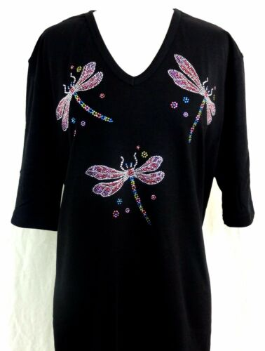 S M L XL Rhinestone Embellished Shimmering Colorful Dragonfly Short Sleeve Top